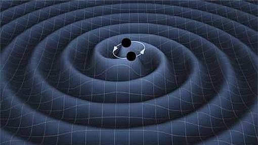 Recreación artística de ondas gravitacionales de dos agujeros negros en órbita