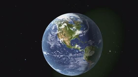 Animación de las ondas (en verde claro) llegando a la Tierra
