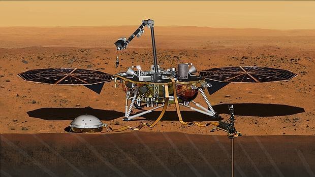 Recreación del robot InSight en Marte