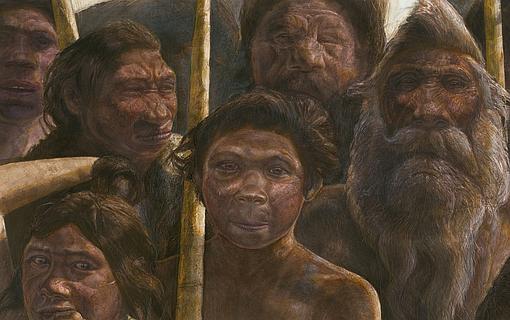 Representación de los humanos de la Sima de los Huesos, en el yacimiento de Atapuerca