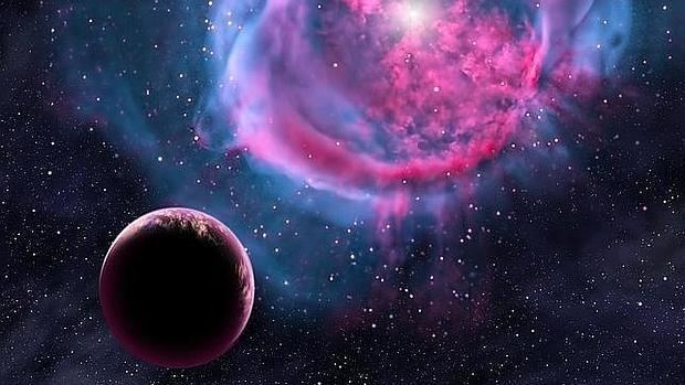 Recreación de un planeta muy parecido a la Tierra que orbita una enana roja