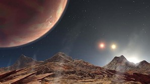 Recreación artística de HD 1885 Ab, el primer planeta conocido en un sistema de tres estrellas, que tendría una puesta de sol similar a KELT-4AB
