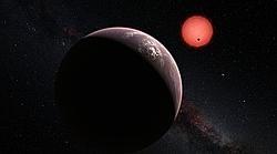 Recreación de los tres planetas alrededor de su estrella