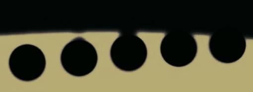 Efecto de la gota negra durante el contacto interior del tránsito de Venus de junio 2004. Aunque el efecto es menos visible en los tránsitos de Mercurio, también puede apreciarse justo en el segundo y tercer contacto