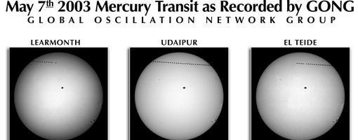 Último tránsito de Mercurio visible desde Europa. La sucesión de puntos superiores son el planeta Mercurio mientras que cerca del centro del disco solar se puede observar una mancha solar