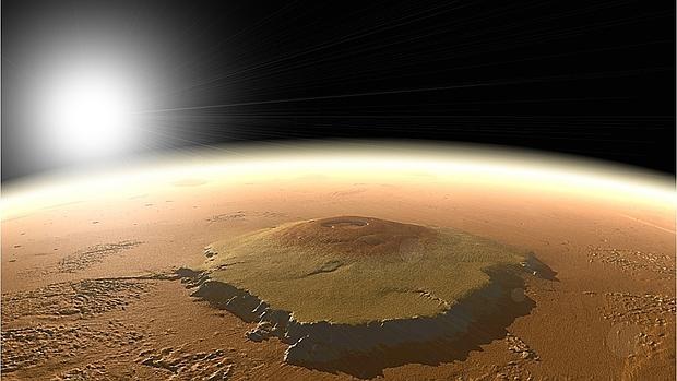 Recreación del Monte Olimpo en Marte. Las erupciones de este supervolcan pudieron cambiar el eje de rotación del planeta en el pasado