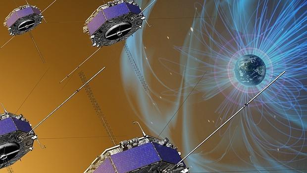 Satélites de la misión MMS, de la NASA. En un estudio presentado hoy, estas naves han mostrado cómo se reconectan los campos magnéticos