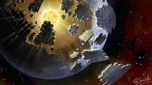 Recreación de una gran estructura extraterrestre alrededor de la estrella KIC 8462852