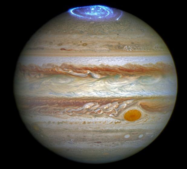 Auroras en el polo norte de Júpiter