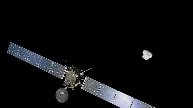 Recreación artística de la aproximación de la nave Rosetta al cometa 67P
