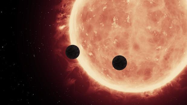 Recreación del tránsito de planetas frente a la estrella Trappist-1