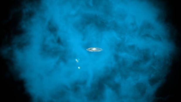 Representación artística del halo y de la Vía Láctea, en el centro. La nube solo es visible con rayos X