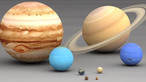 Comparativa de los tamaños de los planetas del Sistema Solar. De izquierda a derecha: Júpiter, Urano, Saturno, Tierra, Marte, Mercurio, Venus y Neptuno