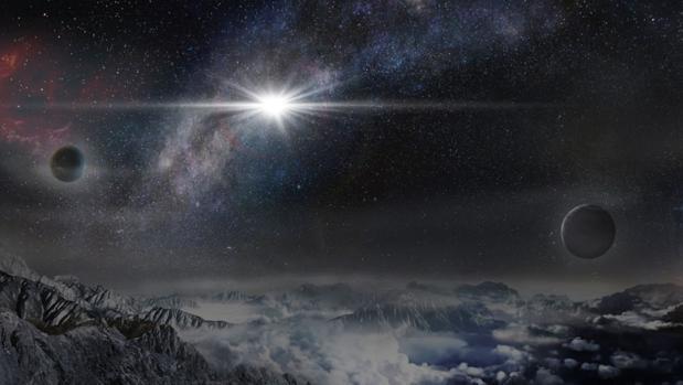 La ilustración muestra cómo se vería la supernova ASASSN-15lh desde un hipotético planeta cercano