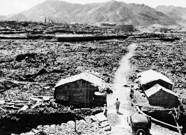 Fotografía tomada en de septiembre de 1945 en Hiroshima, un mes después de la explosión de la bomba atómica