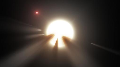 Representación de un enjambre de cometas en torno a KIC 8462852