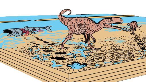 Reconstrucción del ambiente en el que los megalosáuridos iban y volvían hacia la laguna para comer