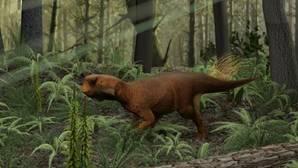 Reconstrucción del Psittacosaurio que vivía en bosques con vegetación densa