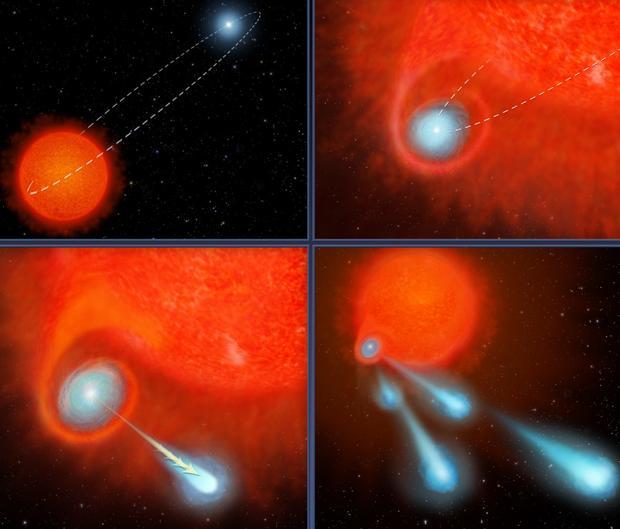 El Hubble detecta una estrella que dispara «cañonazos» al espacio