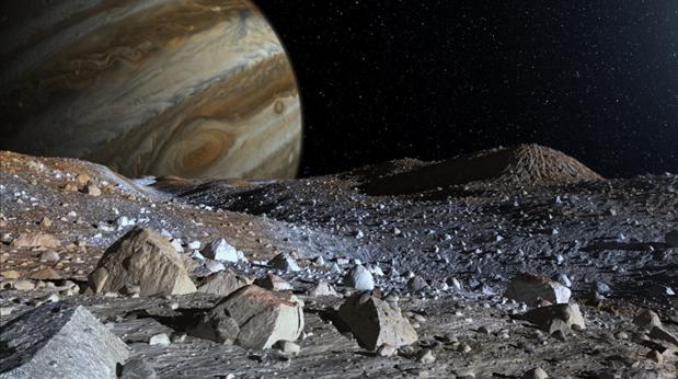 Representación de una luna de Júpiter. Los rayos cósmicos tienen mayor intensidad en la superficie de cuerpos con una atmósfera y una magnestofera más débiles