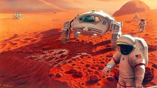 Recreación artística de una futura colonia en Marte