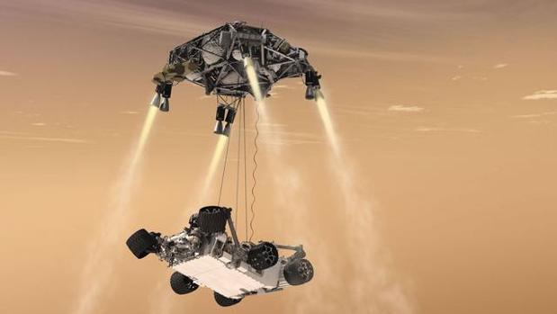 Recreación de la maniobra de la grúa hecha por la NASA con el rover Curiosity