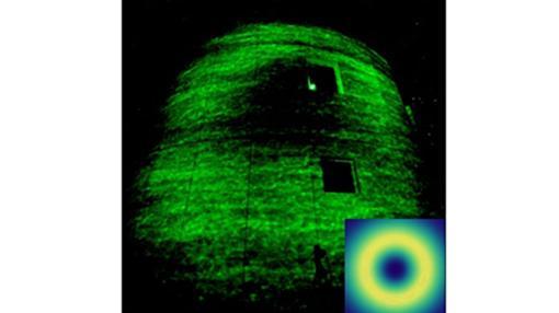 Imagen de la luz incidiendo sobre el observatorio de Tenerife. Su forma de anillo es visible después de recorrer 143 kilómetros