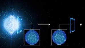 La imagen muestra cómo la luz procedente de una estrella de neutrones se polariza al atravesar el espacio a su alrededor, lo cual es una prueba directa de que en el vacío, los efectos cuánticos están modificando el rayo de luz