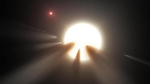 Una cascada de cometas frente a una estrella, posible explicación para el extraño comportamiento de Tabby
