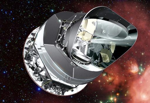 Telescopio espacial Planck, lanzado en 2009. Está midiendo la radiación de fondo de microondas con gran precisión, y pretende analizar la evolución del Universo y de los parámetros cosmológicos