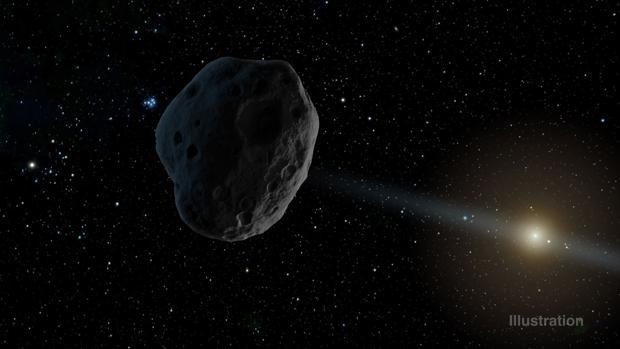 Recreación artística del objeto 2016 WF9 a medida que pasa de la órbita de Júpiter hacia el Sol