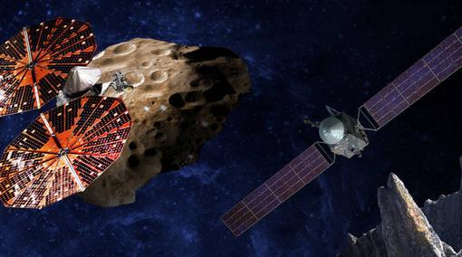 Misión Lucy (izquierda) y Psyche (derecha). Ambas explorarán los orígenes del Sistema Solar y los procesos de formación de planetas
