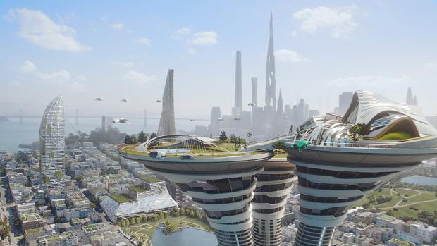 La ciudad imaginada por Arconic con su rascacielos orgánico al fondo
