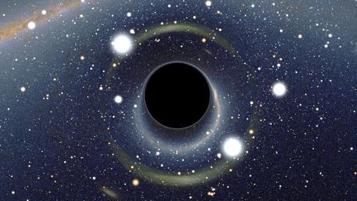 Simulación de un agujero negro frente a la Nube de Magallanes