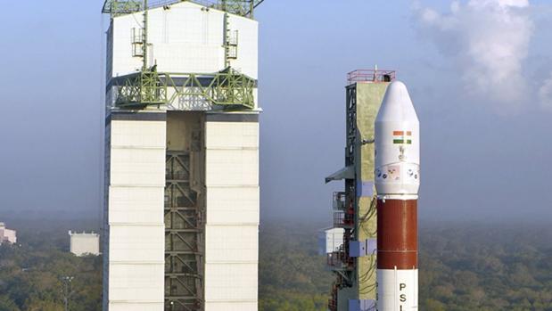 Imçagenes del cohete indio antes de su lanzamiento al espacio