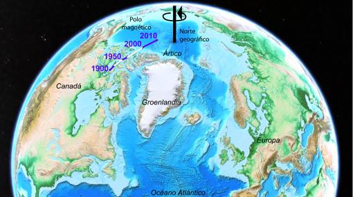 Movimientos del polo norte magnético desde el año 1900, en la línea morada y blanca