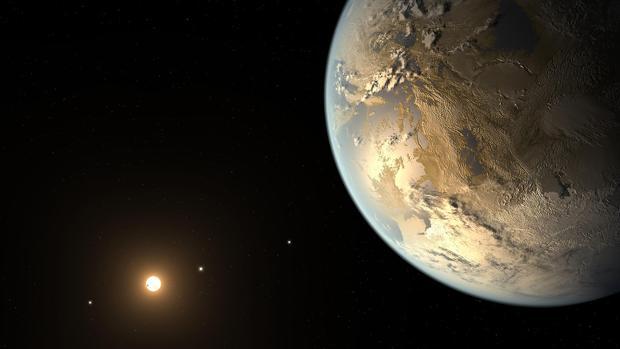 Representación artística de un exoplaneta similar a la Tierra y llamado Kepler-186f
