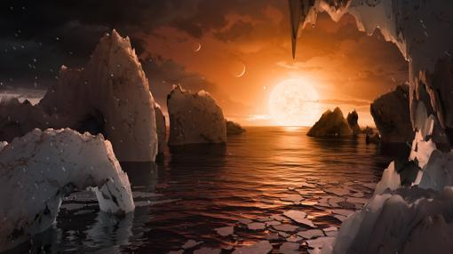 Aspecto hipotético de uno de los planetas de TRAPPIST-1