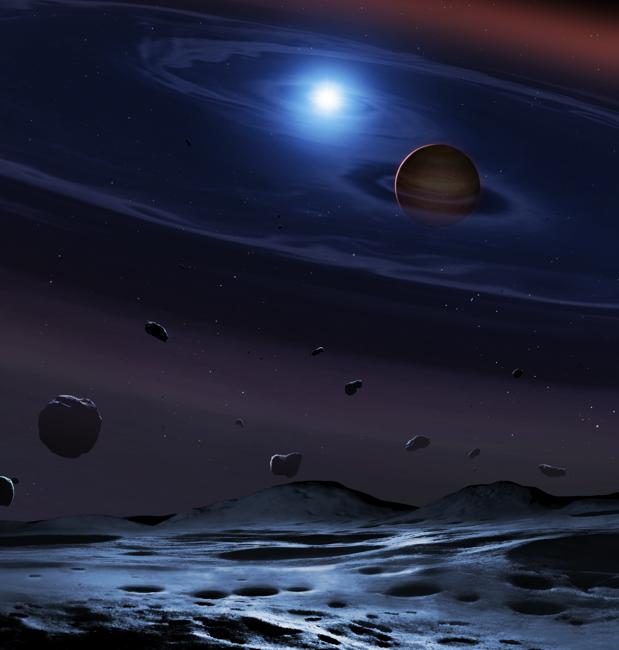Ilustración del sistema que puede existir alrededor de dos estrellas