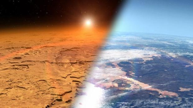 La ilustración muestra cómo sería Marte con mares sobre su superficie