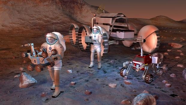 Recreación artística de astronautas en Marte