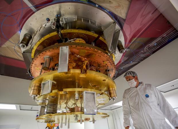 Estructura de cobre del laboratorio de Física que protege el plomo milenario