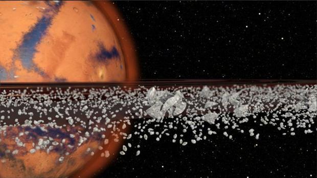 La ilustración muestra un sistema de anillos rodeando Marte