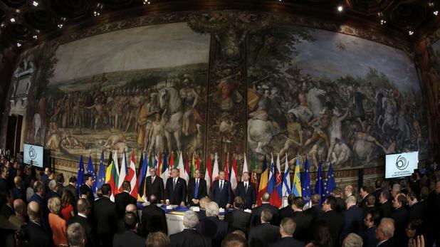 Los líderes europeos, en el interior de la sala de los Oracios y Curiacios de los Museos Capitalinos