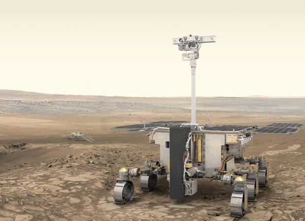 Robot de exploración ExoMars 2020 y plataforma rusa de superficie (al fondo)