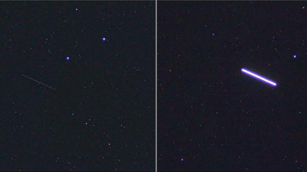 El escudo perdido aparece como una tenue línea delgada (izquierda) seguida, apenas un minuto después, por la ISS (una gruesa línea brillante en la imagen de la derecha)