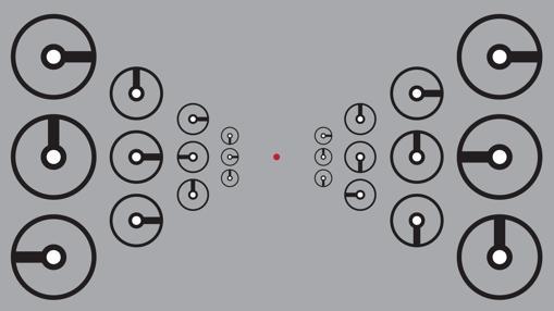 Uno de los experimentos. Con la vista fija en el punto rojo, los participantes debían saber la hora en los relojes del medio en los extremos