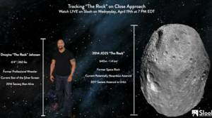 Simpática comparativa del asteroide con Johnson Dwayne, «La Roca», a quien debe su apodo