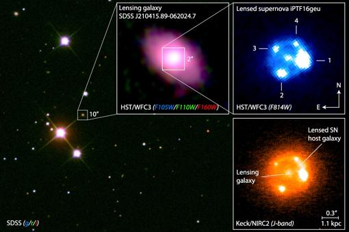 Imágenes de la supernova, vista tras la «galaxia lente»