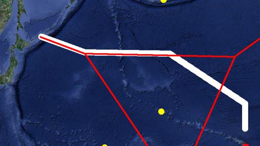 Los puntos de esta imagen representan las bases de EEUU en el Pacífico en 1941. El punto rojo es Pearl Harbor y los amarillos Aleutianas, Midway y Wake. Las líneas rojas corresponden con el diagrama de Voronoi de las 4 bases, las líneas blancas señalan la ruta seguida por la flota japonesa en el ataque